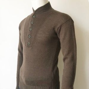 Vtg Military WWII Style 5 Button Wool Sweater L